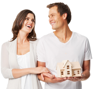 happy couple getting conventional mortgage backed by federal housing administration
