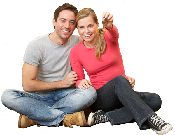 happy couple looking at home loans mortgage rates.